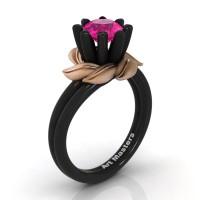 Nature Inspired 14K Black Rose Gold 1.0 Ct Pink Sapphire Leaf and Vine Engagement Ring R440-14KBRGSPS
