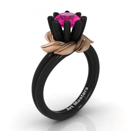 Nature-Inspired-14K-Black-Rose-Gold-1-0-Ct-Pink-Sapphire-Leaf-and-Vine-Engagement-Ring-R440-14KBRGSPS-P2