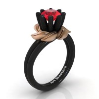 Nature Inspired 14K Black Rose Gold 1.0 Ct Ruby Leaf and Vine Engagement Ring R440-14KBRGSR