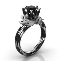 Nature Inspired 14K Black White Leopard Gold 1.0 Ct Black Diamond Leaf and Vine Engagement Ring R440-14KBWGLSBD
