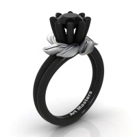 Nature Inspired 14K Black White Gold 1.0 Ct Black Sapphire Leaf and Vine Engagement Ring R440-14KBWGSBLS