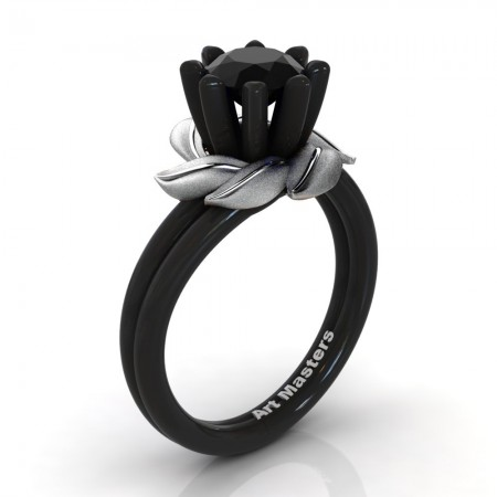 Nature-Inspired-14K-Black-White-Gold-1-0-Ct-Black-Sapphire-Leaf-and-Vine-Exclusive-Engagement-Ring-R440-14KBWGSBLS-100