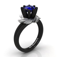 Nature Inspired 14K Black White Gold 1.0 Ct Blue Sapphire Leaf and Vine Engagement Ring R440-14KBWGSBS