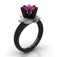 Nature Inspired 14K Black White Gold 1.0 Ct Pink Sapphire Leaf and Vine Engagement Ring R440-14KBWGSPS