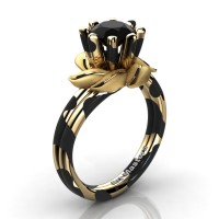 Nature Inspired 14K Black Yellow Leopard Gold 1.0 Ct Black Diamond Leaf and Vine Engagement Ring R440-14KBYGLSBD
