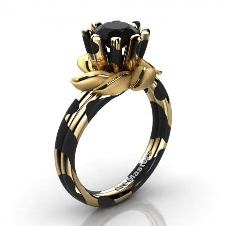 Nature-Inspired-14K-Black-Yellow-Gold-1-0-Ct-Black-Diamond-Leaf-and-Vine-Engagement-Ring-R440-14KBYGSBD-P25