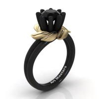 Nature Inspired 14K Black Yellow Gold 1.0 Ct Black Sapphire Leaf and Vine Engagement Ring R440-14KBYGSBLS