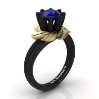 Nature Inspired 14K Black Yellow Gold 1.0 Ct Blue Sapphire Leaf and Vine Engagement Ring R440-14KBYGSBS