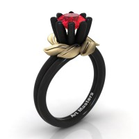 Nature Inspired 14K Black Yellow Gold 1.0 Ct Ruby Leaf and Vine Engagement Ring R440-14KBYGSR