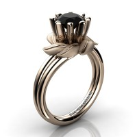 Nature Inspired 14K Rose Gold 1.0 Ct Black Diamond Leaf and Vine Engagement Ring R440-14KRGSBD