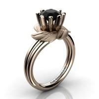 Nature Inspired 14K Rose Gold 1.0 Ct Black Diamond Leaf and Vine Engagement Ring R440-14KRGSBD