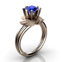 Nature Inspired 14K Rose Gold 1.0 Ct Blue Sapphire Leaf and Vine Engagement Ring R440-14KRGSBS