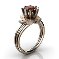 Nature Inspired 14K Rose Gold 1.0 Ct Brown Diamond Leaf and Vine Engagement Ring R440-14KRGSBRD