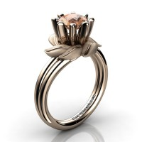 Nature Inspired 14K Rose Gold 1.0 Ct Champagne Diamond Leaf and Vine Engagement Ring R440-14KRGSCHD