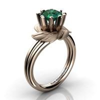 Nature Inspired 14K Rose Gold 1.0 Ct Emerald Leaf and Vine Engagement Ring R440-14KRGSEM