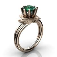 Nature Inspired 14K Rose Gold 1.0 Ct Emerald Leaf and Vine Engagement Ring R440-14KRGSEM