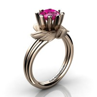 Nature Inspired 14K Rose Gold 1.0 Ct Pink Sapphire Leaf and Vine Engagement Ring R440-14KRGSPS