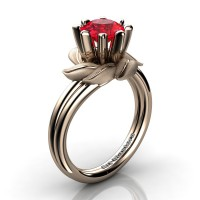 Nature Inspired 14K Rose Gold 1.0 Ct Ruby Leaf and Vine Engagement Ring R440-14KRGSR