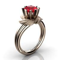 Nature Inspired 14K Rose Gold 1.0 Ct Ruby Leaf and Vine Engagement Ring R440-14KRGSR