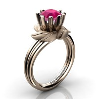 Nature Inspired 14K Rose Gold 1.0 Ct Rose Ruby Leaf and Vine Engagement Ring R440-14KRGSRR