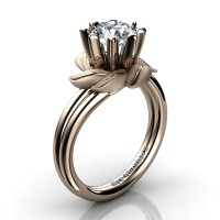 Nature Inspired 14K Rose Gold 1.0 Ct White Sapphire Leaf and Vine Engagement Ring R440-14KRGSWS