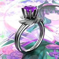 Nature Inspired 14K White Gold 1.0 Ct Amethyst Leaf and Vine Engagement Ring R440-14KWGSAM