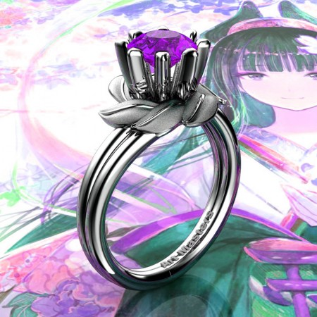 Nature-Inspired-14K-White-Gold-1-0-Ct-Amethyst-Leaf-and-Vine-Engagement-Ring-R440-14KWGSAM-P220