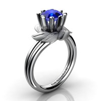 Nature Inspired 14K White Gold 1.0 Ct Blue Sapphire Leaf and Vine Engagement Ring R440-14KWGSBS