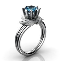 Nature Inspired 14K White Gold 1.0 Ct Blue Topaz Leaf and Vine Engagement Ring R440-14KWGSBT