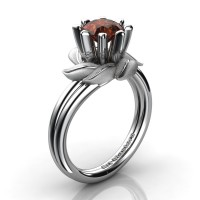 Nature Inspired 14K White Gold 1.0 Ct Brown Diamond Leaf and Vine Engagement Ring R440-14KWGSBRD