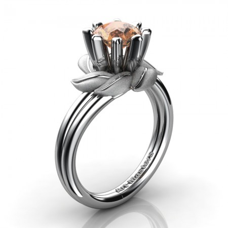 Nature-Inspired-14K-White-Gold-1-0-Ct-Champagne-Diamond-Leaf-and-Vine-Engagement-Ring-R440-14KWGSCHD-P3