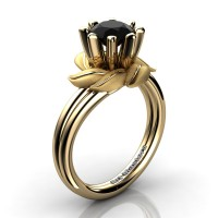 Nature Inspired 14K Yellow Gold 1.0 Ct Black Diamond Leaf and Vine Engagement Ring R440-14KYGSBD