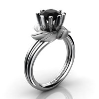 Nature Inspired 14K White Gold 1.0 Ct Black Diamond Leaf and Vine Engagement Ring R440-14KWGSBD