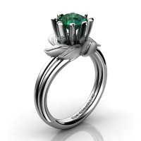 Nature Inspired 14K White Gold 1.0 Ct Emerald Leaf and Vine Engagement Ring R440-14KWGSEM