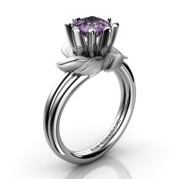 Nature Inspired 14K White Gold 1.0 Ct Lilac Amethyst Leaf and Vine Engagement Ring R440-14KWGSLAM