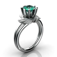 Nature Inspired 14K White Gold 1.0 Ct Paraiba Tourmaline Leaf and Vine Engagement Ring R440-14KWGST