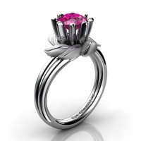 Nature Inspired 14K White Gold 1.0 Ct Pink Sapphire Leaf and Vine Engagement Ring R440-14KWGSPS