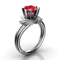 Nature Inspired 14K White Gold 1.0 Ct Ruby Leaf and Vine Engagement Ring R440-14KWGSR