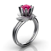 Nature Inspired 14K White Gold 1.0 Ct Rose Ruby Leaf and Vine Engagement Ring R440-14KWGSRR