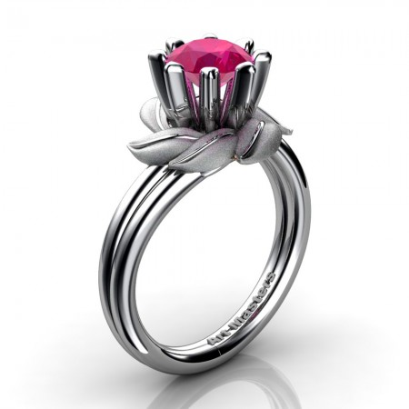 Nature-Inspired-14K-White-Gold-1-0-Ct-Ruby-Leaf-and-Vine-Engagement-Ring-R440-14KWGSR-P