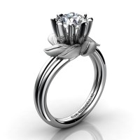 Nature Inspired 14K White Gold 1.0 Ct White Sapphire Leaf and Vine Engagement Ring R440-14KWGSWS