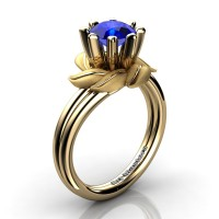 Nature Inspired 14K Yellow Gold 1.0 Ct Blue Sapphire Leaf and Vine Engagement Ring R440-14KYGSBS
