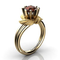 Nature Inspired 14K Yellow Gold 1.0 Ct Brown Diamond Leaf and Vine Engagement Ring R440-14KYGSBRD