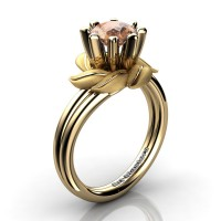 Nature Inspired 14K Yellow Gold 1.0 Ct Champagne Diamond Leaf and Vine Engagement Ring R440-14KYGSCHD