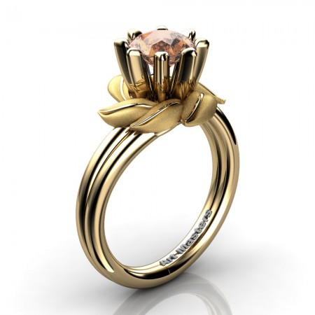 Nature-Inspired-14K-Yellow-Gold-1-0-Ct-Champagne-Diamond-Leaf-and-Vine-Engagement-Ring-R440-14KYGSCHD-P1