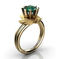Nature Inspired 14K Yellow Gold 1.0 Ct Emerald Leaf and Vine Engagement Ring R440-14KYGSEM