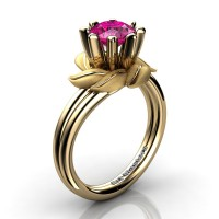 Nature Inspired 14K Yellow Gold 1.0 Ct Pink Sapphire Leaf and Vine Engagement Ring R440-14KYGSPS
