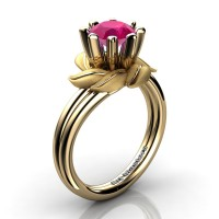 Nature Inspired 14K Yellow Gold 1.0 Ct Rose Ruby Leaf and Vine Engagement Ring R440-14KYGSRR