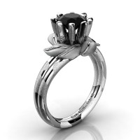 Nature Inspired 14K White Snow Leopard Gold 1.0 Ct Black Diamond Leaf and Vine Engagement Ring R440-14KWGSLSBD