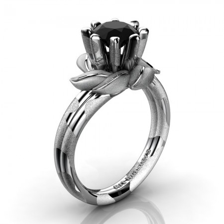 Nature-Inspired-Snow-Leopard-14K-White-Gold-1-0-Ct-Black-Diamond-Leaf-and-Vine-Engagement-Ring-R440-14KWGLSSBD-P